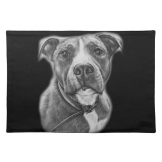 Drawing of Pit Bull Dog Animal Art Placemat