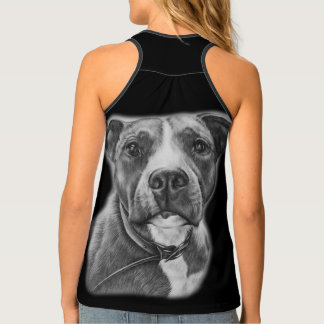 Drawing of Pit Bull Dog Animal Art Shirt