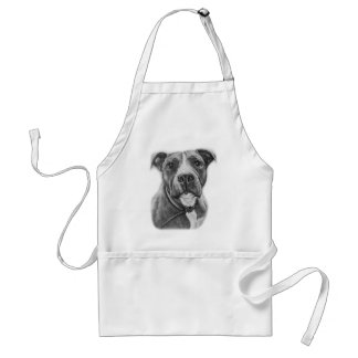 Drawing of Pit Bull Dog Animal Art Standard Apron