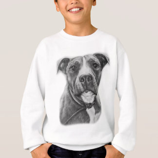 Drawing of Pit Bull Dog Animal Art Sweatshirt