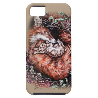 Drawing of Red Fox and Bunny Animal Art and Lilies Case For The iPhone 5