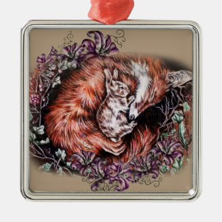 Drawing of Red Fox and Bunny Animal Art and Lilies Metal Ornament