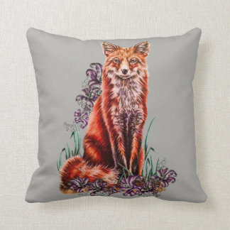 Drawing of Red Fox Animal Art and Lilies Pillow