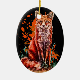Drawing of Red Fox Animal Art and Orange Paint Ceramic Ornament