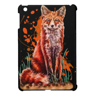 Drawing of Red Fox Animal Art and Orange Paint iPad Mini Case