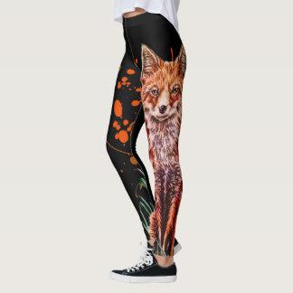 Drawing of Red Fox Animal Art and Orange Paint Leggings
