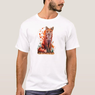 Drawing of Red Fox Animal Art and Orange Paint T-Shirt