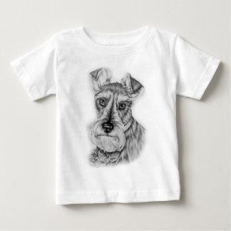 Drawing of Schnauzer Dog Art Baby T-Shirt