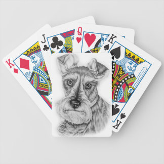 Drawing of Schnauzer Dog Art Bicycle Playing Cards