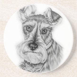 Drawing of Schnauzer Dog Art Coaster