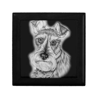 Drawing of Schnauzer Dog Art Gift Box