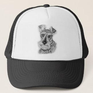 Drawing of Schnauzer Dog Art Trucker Hat
