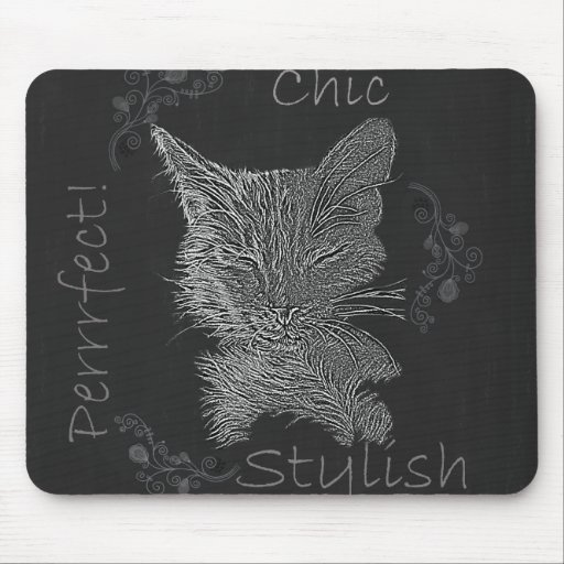 Drawing of Sleepy Cat in Chalk Mouse Pads