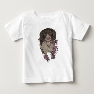 Drawing of Spaniel with Lilies Baby T-Shirt