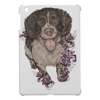 Drawing of Spaniel with Lilies iPad Mini Cover
