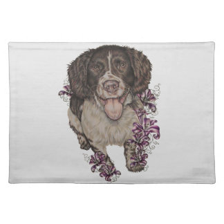 Drawing of Spaniel with Lilies Placemat
