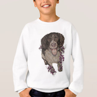 Drawing of Spaniel with Lilies Sweatshirt