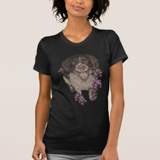 Drawing of Spaniel with Lilies T-Shirt