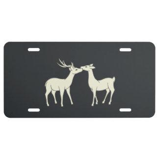 Drawing Of Sweet Deer Couple License Plate