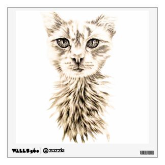 Drawing of White Cat for Wall Wall Decal
