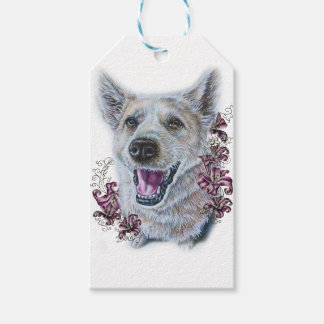 Drawing of White Dog and Lilies Art Gift Tags