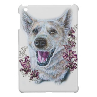 Drawing of White Dog and Lilies Art iPad Mini Covers