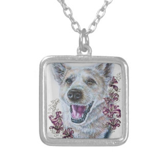 Drawing of White Dog and Lilies Art Silver Plated Necklace