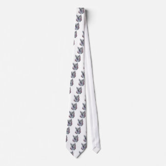 Drawing of White Dog and Lilies Art Tie