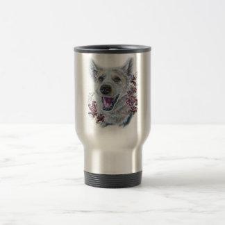 Drawing of White Dog and Lilies Art Travel Mug