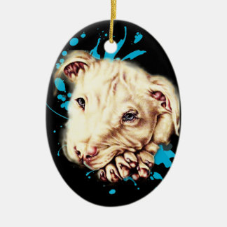 Drawing of White Pit Bull and Blue Paint Art Ceramic Ornament