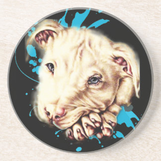 Drawing of White Pit Bull and Blue Paint Art Coaster