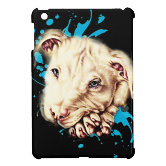 Drawing of White Pit Bull and Blue Paint Art Cover For The iPad Mini
