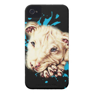 Drawing of White Pit Bull and Blue Paint Art iPhone 4 Case