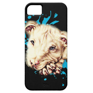 Drawing of White Pit Bull and Blue Paint Art iPhone 5 Case