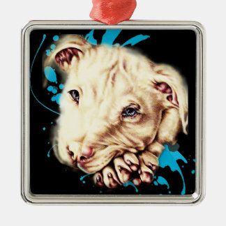Drawing of White Pit Bull and Blue Paint Art Metal Ornament