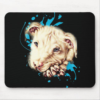 Drawing of White Pit Bull and Blue Paint Art Mouse Pad