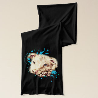 Drawing of White Pit Bull and Blue Paint Art Scarf