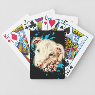 Drawing of White Pit Bull and Blue Paint Cards