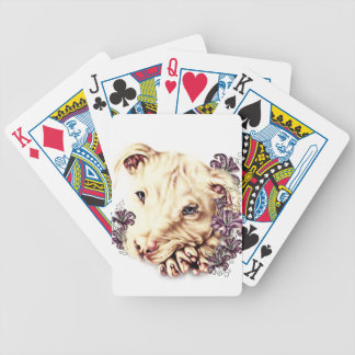 Drawing of White Pitbull with Lilies Bicycle Playing Cards