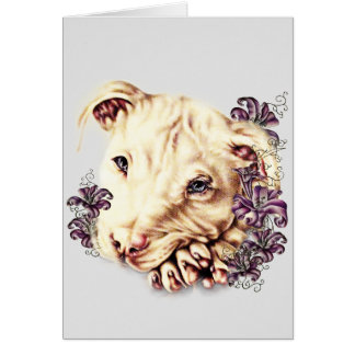 Drawing of White Pitbull with Lilies Card
