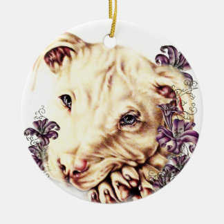 Drawing of White Pitbull with Lilies Ceramic Ornament