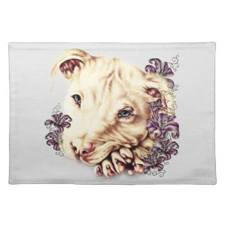 Drawing of White Pitbull with Lilies Placemat