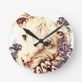Drawing of White Pitbull with Lilies Round Clock