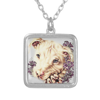 Drawing of White Pitbull with Lilies Silver Plated Necklace