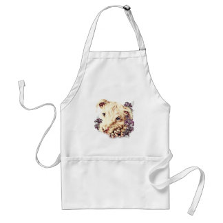 Drawing of White Pitbull with Lilies Standard Apron