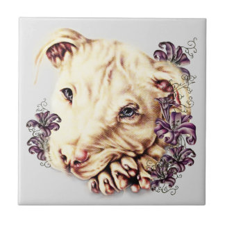 Drawing of White Pitbull with Lilies Tile