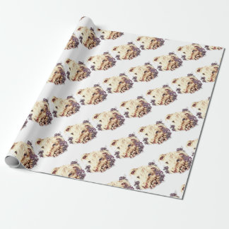 Drawing of White Pitbull with Lilies Wrapping Paper