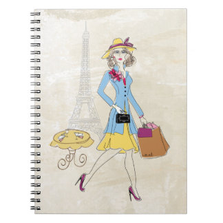 Drawing of Woman in Paris shopping Notebooks