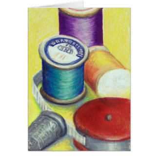 Drawing of Wooden Spools for Quilters - Greeting C Card