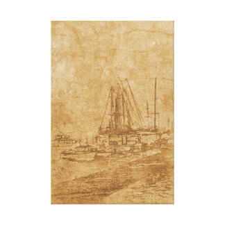 Drawing of yacht club in vintage style canvas print